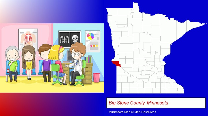 a clinic, showing a doctor and four patients; Big Stone County, Minnesota highlighted in red on a map