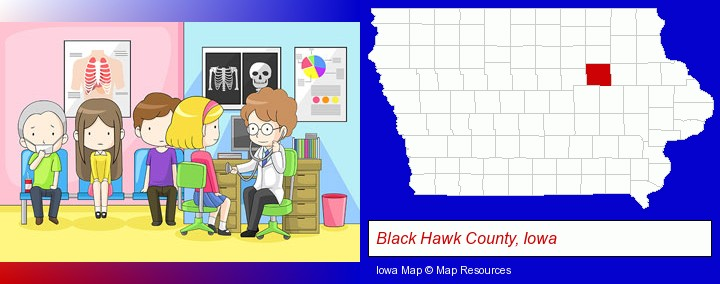 a clinic, showing a doctor and four patients; Black Hawk County, Iowa highlighted in red on a map
