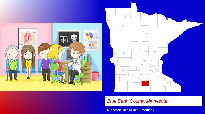 a clinic, showing a doctor and four patients; Blue Earth County, Minnesota highlighted in red on a map