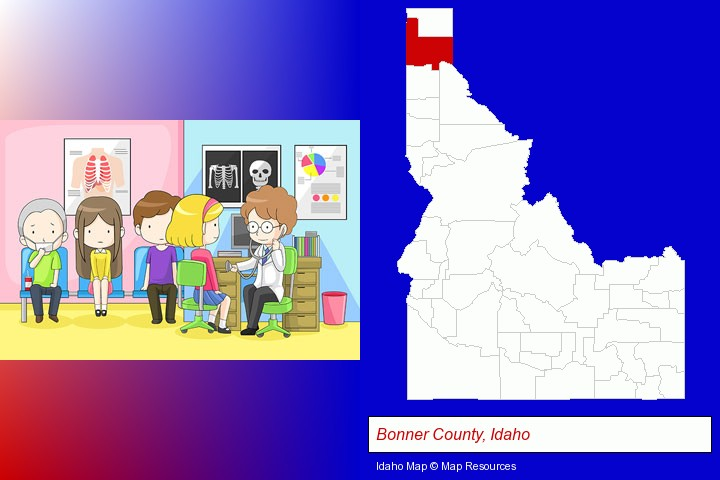 a clinic, showing a doctor and four patients; Bonner County, Idaho highlighted in red on a map