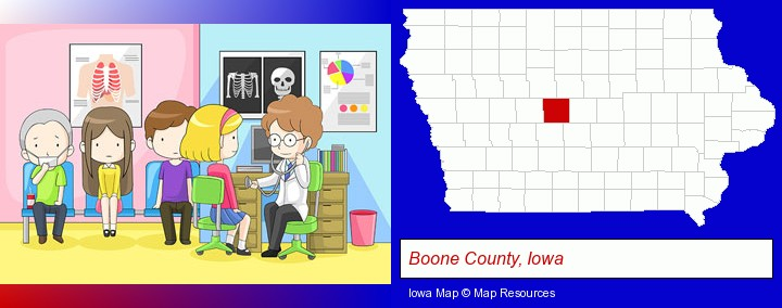 a clinic, showing a doctor and four patients; Boone County, Iowa highlighted in red on a map