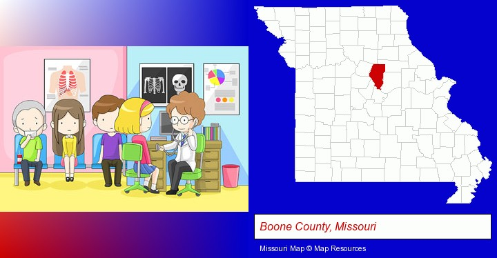 a clinic, showing a doctor and four patients; Boone County, Missouri highlighted in red on a map