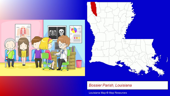 a clinic, showing a doctor and four patients; Bossier Parish, Louisiana highlighted in red on a map
