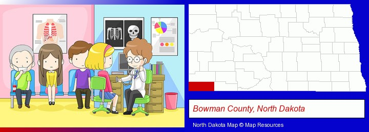 a clinic, showing a doctor and four patients; Bowman County, North Dakota highlighted in red on a map