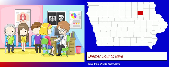 a clinic, showing a doctor and four patients; Bremer County, Iowa highlighted in red on a map