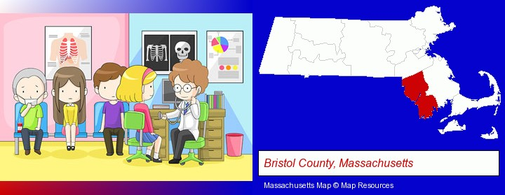 a clinic, showing a doctor and four patients; Bristol County, Massachusetts highlighted in red on a map