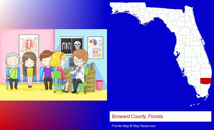 a clinic, showing a doctor and four patients; Broward County, Florida highlighted in red on a map