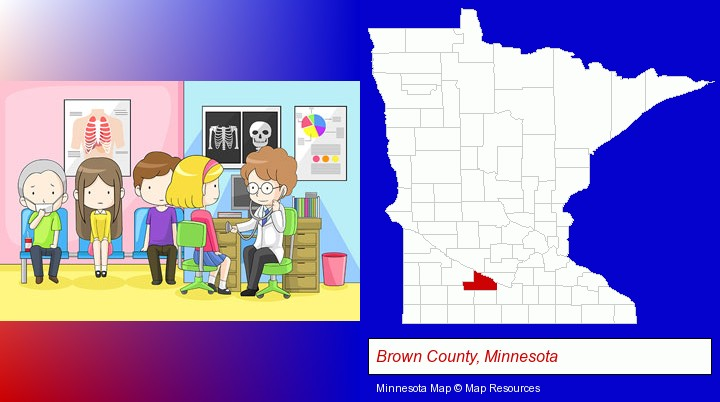 a clinic, showing a doctor and four patients; Brown County, Minnesota highlighted in red on a map