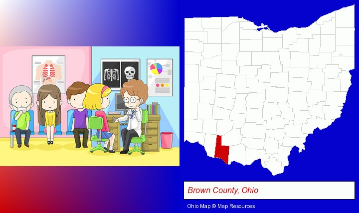 a clinic, showing a doctor and four patients; Brown County, Ohio highlighted in red on a map