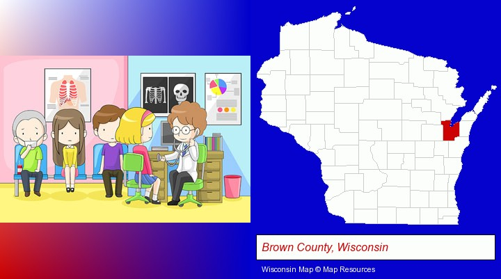 a clinic, showing a doctor and four patients; Brown County, Wisconsin highlighted in red on a map
