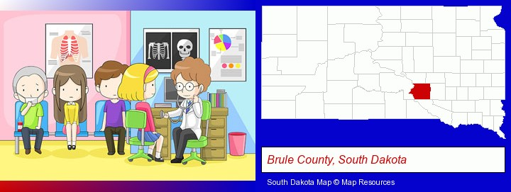 a clinic, showing a doctor and four patients; Brule County, South Dakota highlighted in red on a map