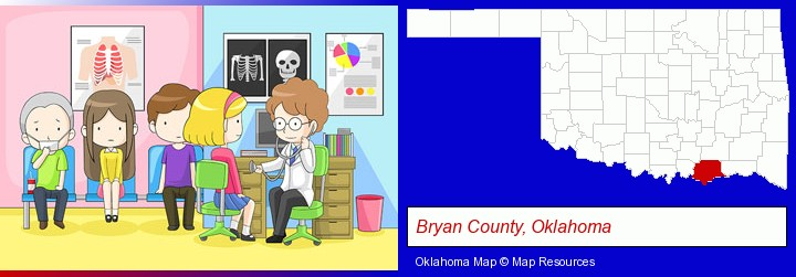 a clinic, showing a doctor and four patients; Bryan County, Oklahoma highlighted in red on a map