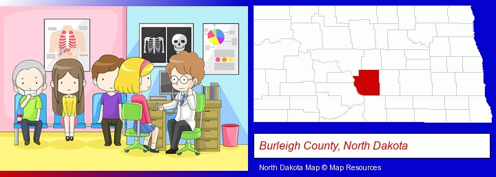 a clinic, showing a doctor and four patients; Burleigh County, North Dakota highlighted in red on a map