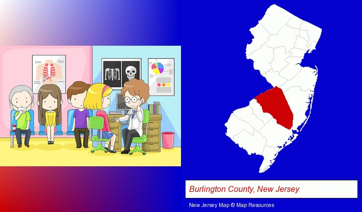 a clinic, showing a doctor and four patients; Burlington County, New Jersey highlighted in red on a map