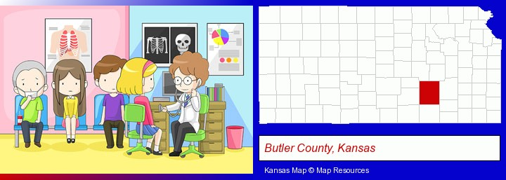 a clinic, showing a doctor and four patients; Butler County, Kansas highlighted in red on a map