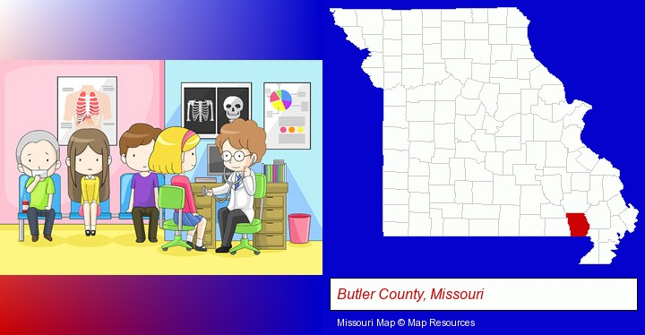 a clinic, showing a doctor and four patients; Butler County, Missouri highlighted in red on a map