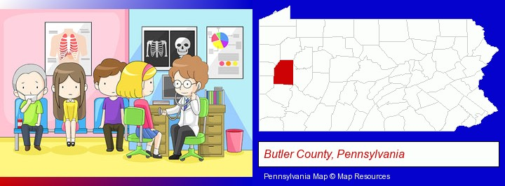 a clinic, showing a doctor and four patients; Butler County, Pennsylvania highlighted in red on a map