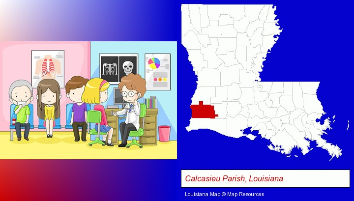 a clinic, showing a doctor and four patients; Calcasieu Parish, Louisiana highlighted in red on a map