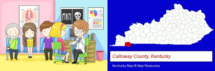 a clinic, showing a doctor and four patients; Calloway County, Kentucky highlighted in red on a map