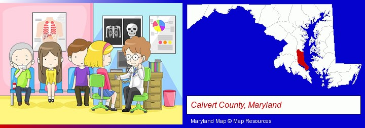 a clinic, showing a doctor and four patients; Calvert County, Maryland highlighted in red on a map