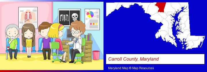 a clinic, showing a doctor and four patients; Carroll County, Maryland highlighted in red on a map