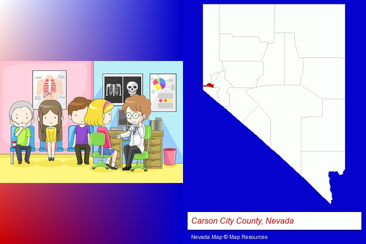 a clinic, showing a doctor and four patients; Carson City County, Nevada highlighted in red on a map
