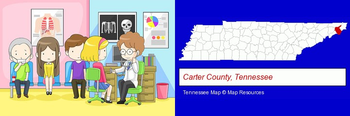 a clinic, showing a doctor and four patients; Carter County, Tennessee highlighted in red on a map