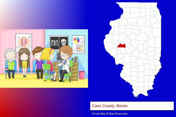 a clinic, showing a doctor and four patients; Cass County, Illinois highlighted in red on a map