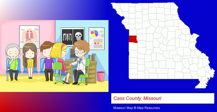 a clinic, showing a doctor and four patients; Cass County, Missouri highlighted in red on a map