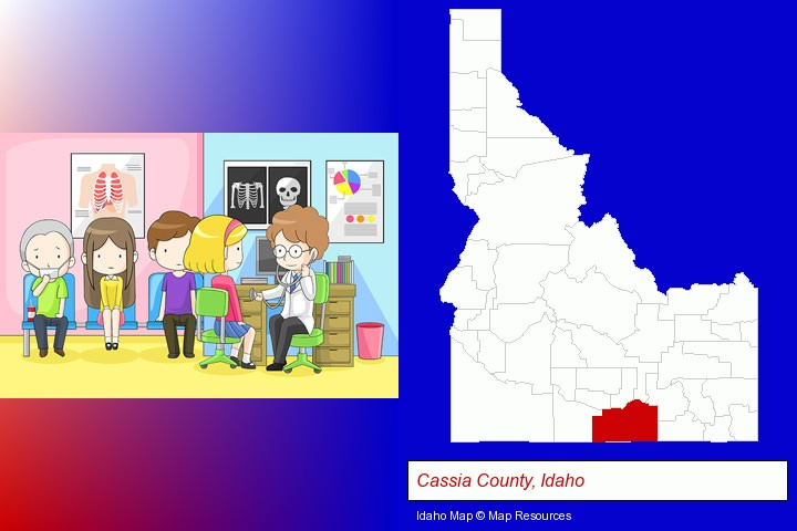 a clinic, showing a doctor and four patients; Cassia County, Idaho highlighted in red on a map