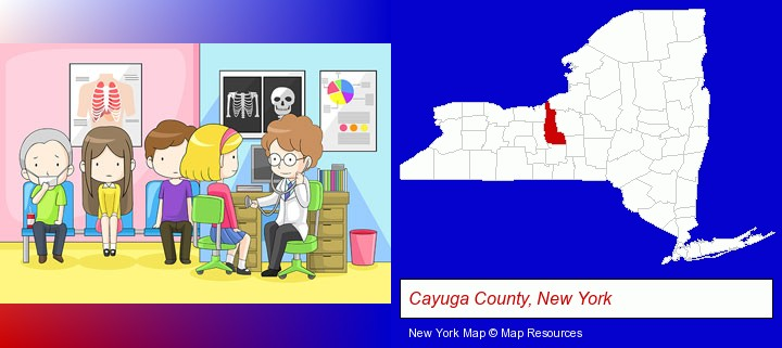 a clinic, showing a doctor and four patients; Cayuga County, New York highlighted in red on a map