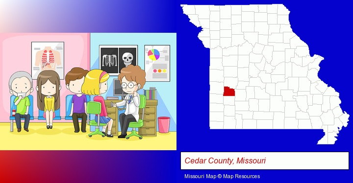 a clinic, showing a doctor and four patients; Cedar County, Missouri highlighted in red on a map