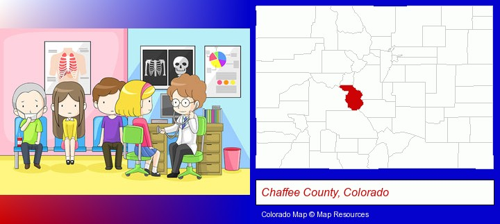 a clinic, showing a doctor and four patients; Chaffee County, Colorado highlighted in red on a map