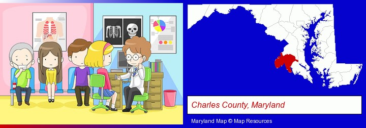 a clinic, showing a doctor and four patients; Charles County, Maryland highlighted in red on a map