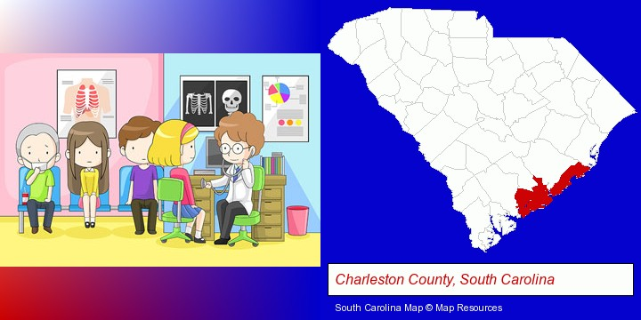 a clinic, showing a doctor and four patients; Charleston County, South Carolina highlighted in red on a map