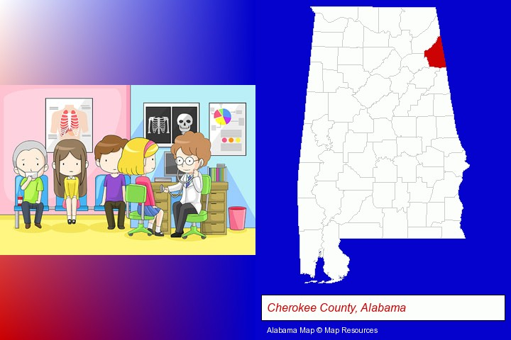 a clinic, showing a doctor and four patients; Cherokee County, Alabama highlighted in red on a map