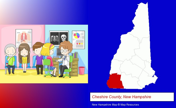 a clinic, showing a doctor and four patients; Cheshire County, New Hampshire highlighted in red on a map