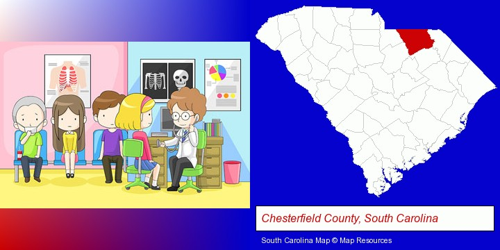 a clinic, showing a doctor and four patients; Chesterfield County, South Carolina highlighted in red on a map