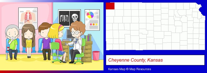 a clinic, showing a doctor and four patients; Cheyenne County, Kansas highlighted in red on a map