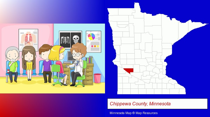 a clinic, showing a doctor and four patients; Chippewa County, Minnesota highlighted in red on a map
