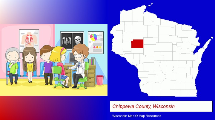 a clinic, showing a doctor and four patients; Chippewa County, Wisconsin highlighted in red on a map