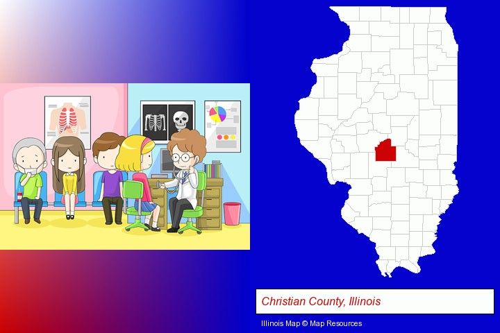 a clinic, showing a doctor and four patients; Christian County, Illinois highlighted in red on a map