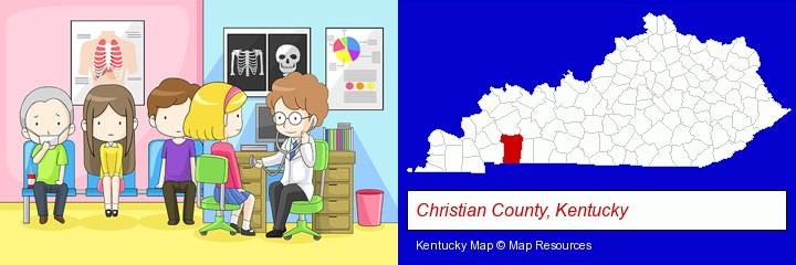 a clinic, showing a doctor and four patients; Christian County, Kentucky highlighted in red on a map