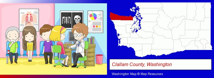 a clinic, showing a doctor and four patients; Clallam County, Washington highlighted in red on a map
