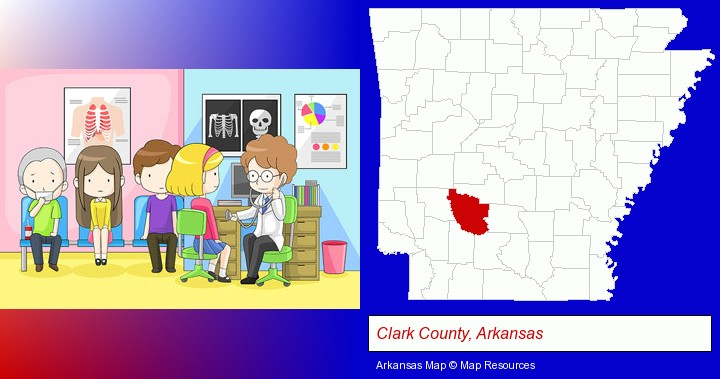 a clinic, showing a doctor and four patients; Clark County, Arkansas highlighted in red on a map