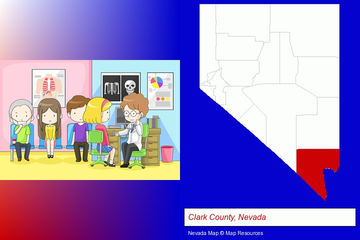 a clinic, showing a doctor and four patients; Clark County, Nevada highlighted in red on a map
