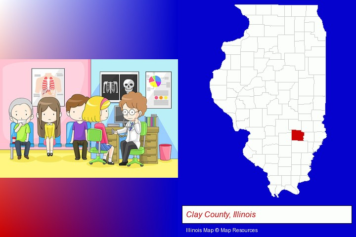 a clinic, showing a doctor and four patients; Clay County, Illinois highlighted in red on a map