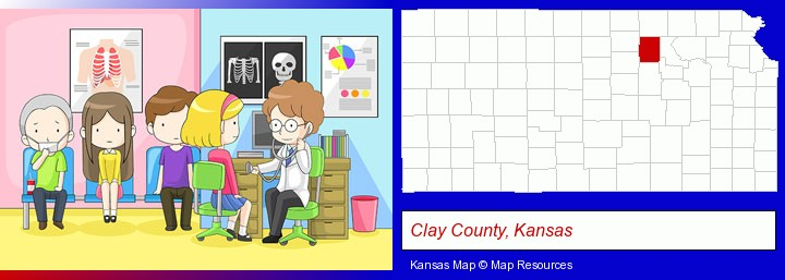a clinic, showing a doctor and four patients; Clay County, Kansas highlighted in red on a map