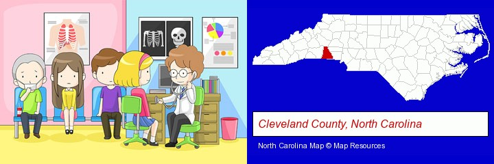 a clinic, showing a doctor and four patients; Cleveland County, North Carolina highlighted in red on a map