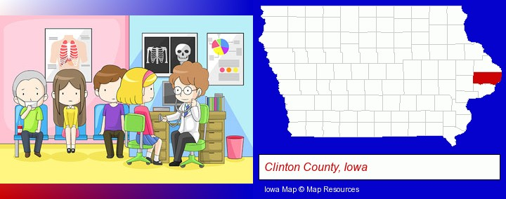 a clinic, showing a doctor and four patients; Clinton County, Iowa highlighted in red on a map
